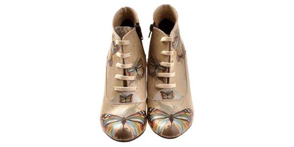 Dámske členkové topánky s farebnými motýlikmi Elite Goby
