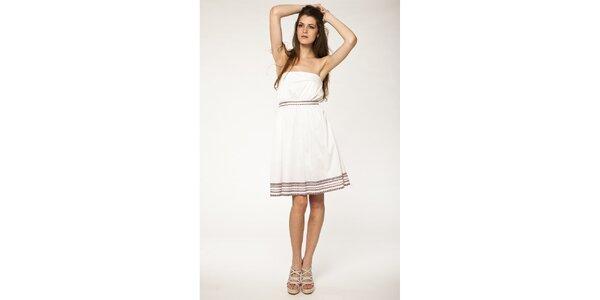 Dámske biele šaty Tantra s hnedou čipkou