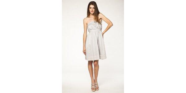 Dámske svetlo šedé šaty Tantra s čipkou