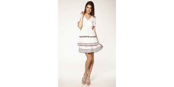 Dámske biele šaty s volánmi Tantra