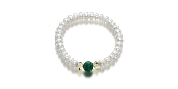Biely perlový náramok Orchira so zeleným nefritom