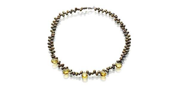Dámsky zlatavý náhrdelník s citrínmi Orchira
