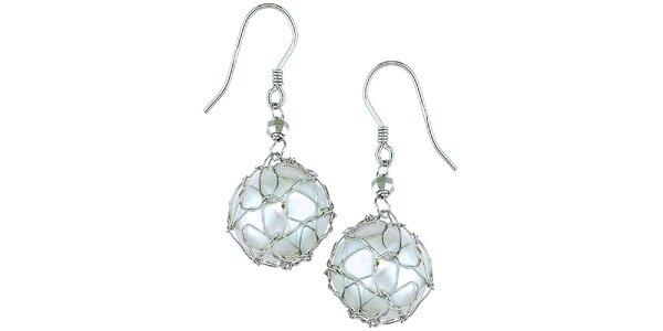 Dámske biele strieborné perlové náušnice Orchira