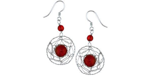 Dámske visiace strieborné náušnice s červenými korálkami Orchira