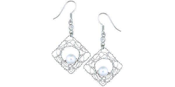 Dámske visiace náušnice s bielou perličkou Orchira
