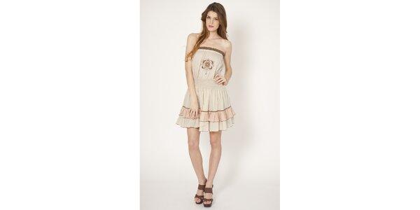 Dámske béžové bavlnené šaty Tantra s výšivkou