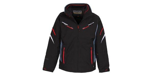 Pánska čierna lyžiarska bunda s membránou a červenými prvkami Bergson