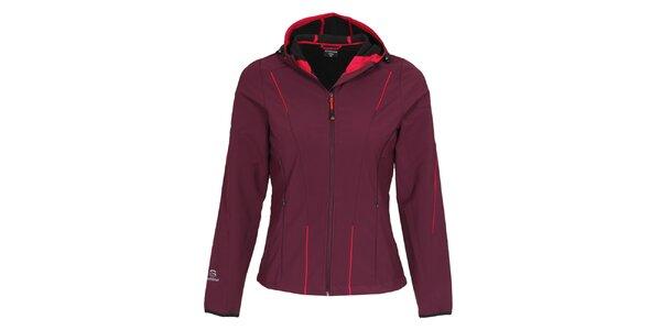 Dámska tmavo fialová softshellová bunda s kapucňou Bergson