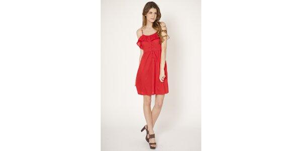 Dámske červené šaty Tantra s volánom