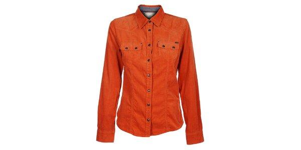 Dámska oranžová menčestrová košeľa Timeout