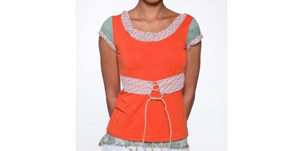 Dámske oranžové tričko s bodkovaným opaskom Ian Mosh