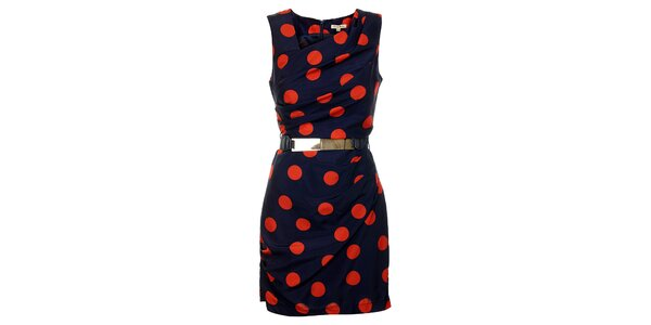 Dámske temno modré šaty Lucy Paris s oranžovými bodkami