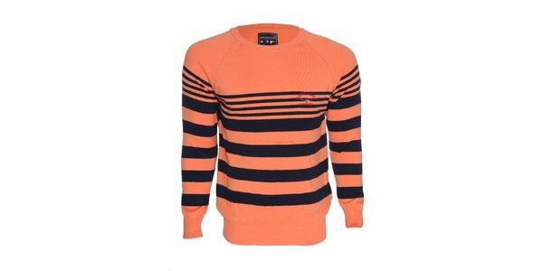 Pánsky oranžový sveter s pruhmi Giorgio di Mare