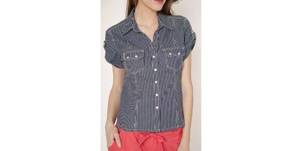 Dámska pruhovaná košeľa s krátkymi rukávmi Tantra