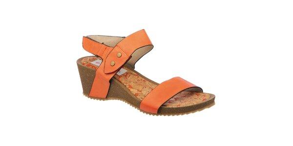 Dámske oranžové sandále so vzorovanou stielkou Elisabeth