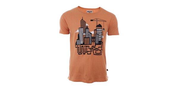 Pánske oranžové tričko s mestom River Rock