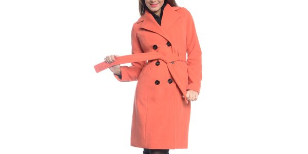 Dámsky oranžový kabát s opaskom Vera Ravenna