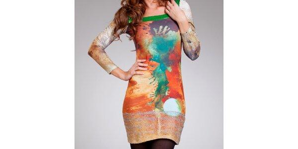 Dámske oranžové vzorované šaty Culito from Spain