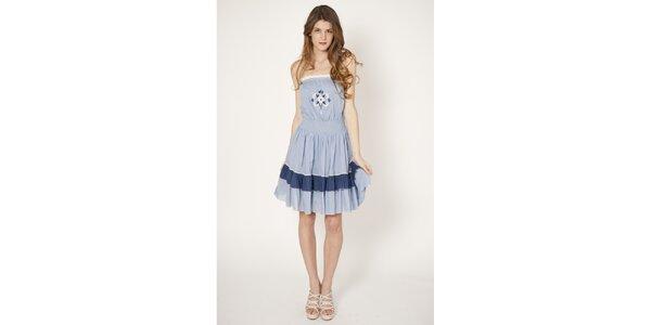 Dámske modré bavlnené šaty Tantra s výšivkou