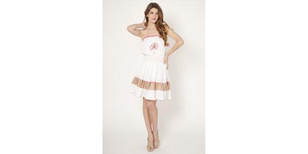 Dámske biele bavlnené šaty Tantra s výšivkou