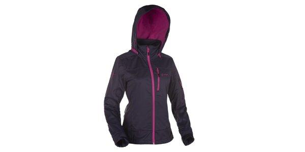 Dámska tmavo šedá softshellová bunda s kapucňou Kilpi