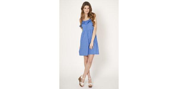 Dámske svetlo modré šaty Tantra s volánom