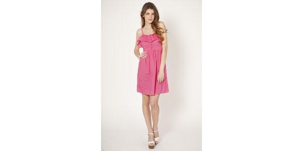 Dámske ružové šaty Tantra s volánom