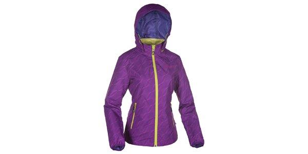Dámska fialová bunda s kapucňou a neónovými zipsami Kilpi