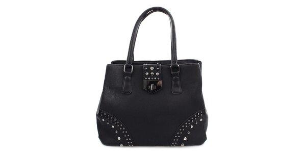 Dámska čierna kabelka so zámčekom a cvokmi Bessie