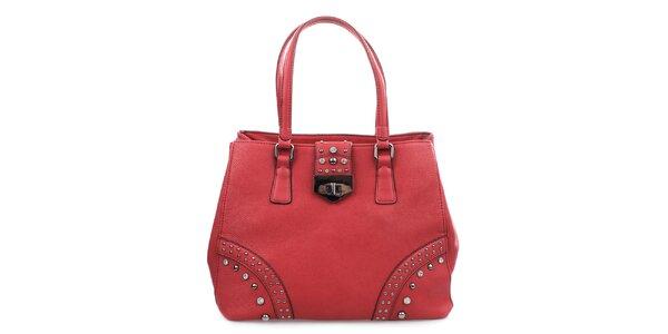 Dámska červená kabelka so zámčekom a cvokmi Bessie