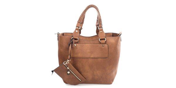 Dámska hnedá kabelka s malým vreckom Bessie