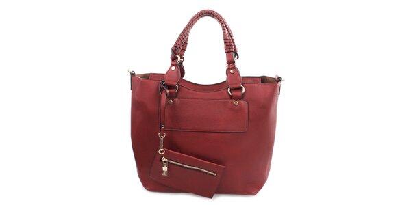 Dámska červená kabelka s malým vreckom Bessie