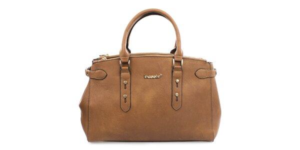 Dámska hnedá kabelka s kovovým nápisom Bessie