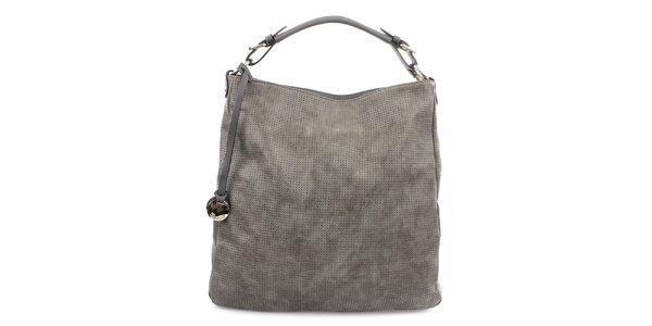 Dámska šedá kabelka s dekoratívnym perforovaním Bessie