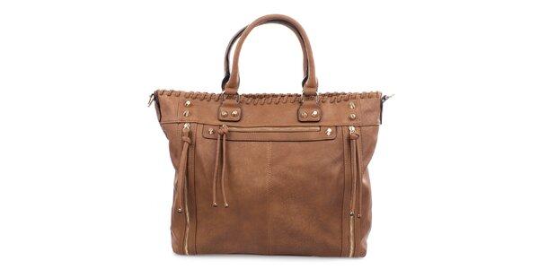 Dámska hnedá kabelka so zipsami Bessie