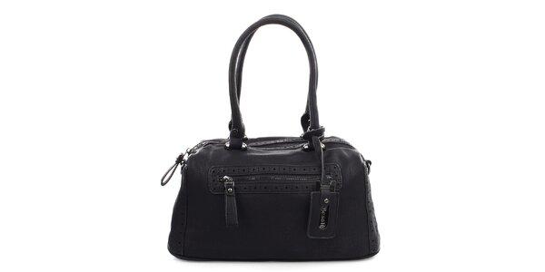 Dámska čierna kabelka s dekoratívnou perforáciou Bessie