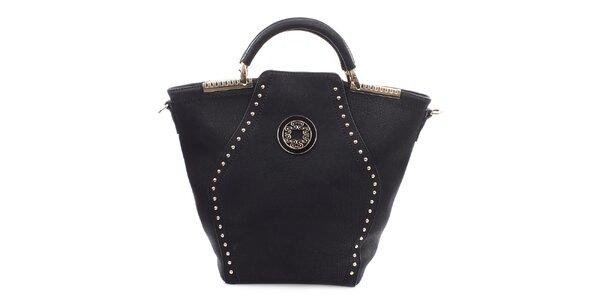 Dámska čierna kabelka s dekoratívnymi prvkami v zlatom tóne Bessie