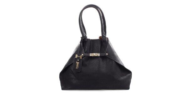 Dámska čierna kabelka so strieborným zámčekom Bessie