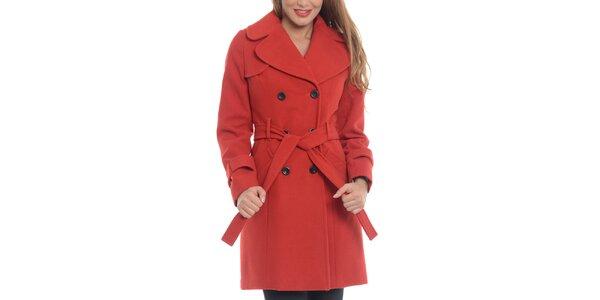 Dámsky červený vlnený kabát Vera Ravena