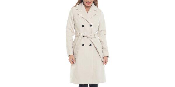 Dámsky krémovo biely vlnený kabát Vera Ravena