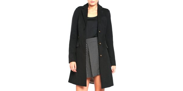 Dámsky čierny kabát na gombíky Vera Ravenna