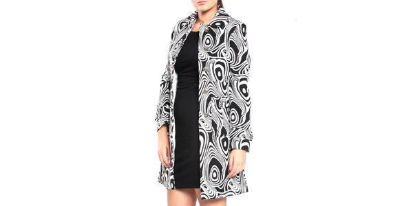Dámsky čierno-biely vzorovaný kabát Vera Ravenna