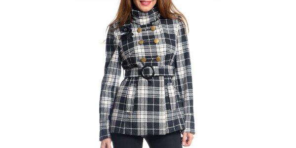 Dámsky čierno-biely krátky kabát s kockovaným vzorom Vera Ravenna 6777e315321