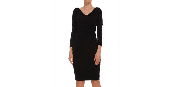 Dámske čierne šaty s 3/4 rukávom Yuliya Babich