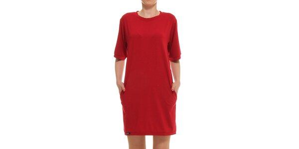 Dámske červené rovné šaty s vreckami Yuliya Babich