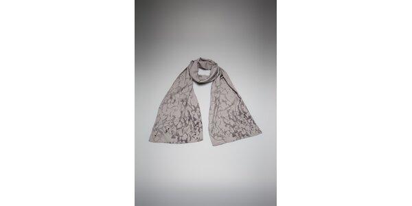 Dámsky šedivý šál By Zoé s potlačou a kamienkami