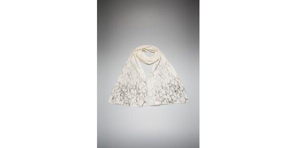 Dámsky krémový šál By Zoé s potlačou a kamienkami