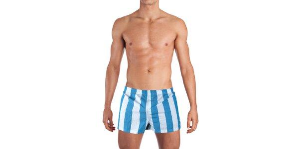 Pánske modro-biele pruhované boxerky Mosmann