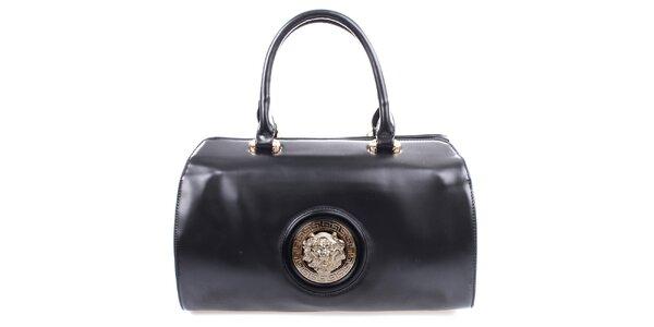 Dámska čierna kabelka s kovovým guľatým komponentom Bessie