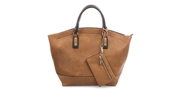 Dámska hnedá kabelka s drobným vreckom Bessie